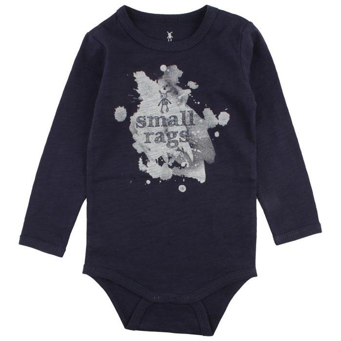be4b1a427309 Small Rags Body Lang Ærmet - Ella Navy med print - BabyPetit